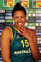 Opals forward Elizabeth Cambage laughs after the International women's basketball match between NZ Tall Ferns and Australian Opals at Te Rauparaha Stadium, Porirua, Wellington, New Zealand on Monday 31 August 2009. Photo: Dave Lintott / lintottphoto.co.nz