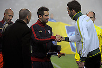 Carlos Bocanegra (l) of team USA, earnin his 100th Cap before the friendly match Slovenia against USA at the Stozice Stadium in Ljubljana, Slovenia on November 15th, 2011.