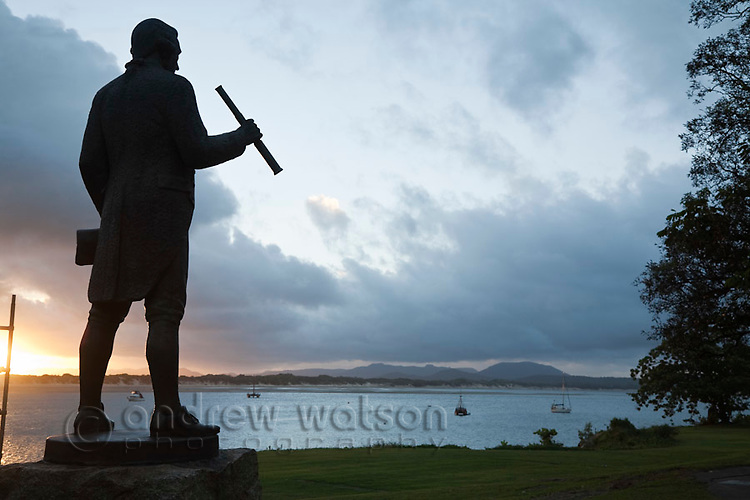 "Statue of Captain James Cook, who landed his ship ""Endeavour"" near present day Cooktown in 1770.  Cooktown, Queensland, Australia"