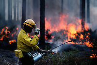 Fire fighters set fires and carefully monitor the flames in the Okefenokee National Wildlife Refuge. A prescribed burn can help reduce the thick undergrowth in the jungle-like <br /> environment. Lightening strikes from frequent summer storms cause wild fire and threaten nearby private land.