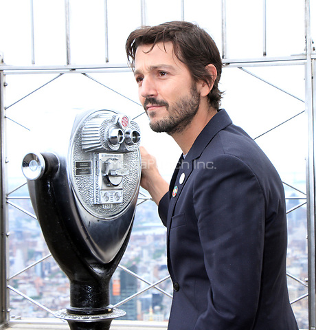 NEW YORK, NY June 08, 2017Diego Luna, light the Empire State Building in Blue to honor World Oceans Day  at the Empire State Building  in New York June 08, 2017. Credit:RW/MediaPunch