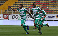 BOGOTÁ - COLOMBIA, 24-04-2019:Carlos Peralta jugador de La Equidad celebra después de anotar un gol a  Rionegro  durante partido por la fecha 17 de la Liga Águila I 2019 jugado en el estadio Metropolitano de Techo de la ciudad de Bogotá. /Carlos Peralta player of La Equidad celebrates after scoring a goal agaisnt of Rionegro  during the match for the date 17 of the Liga Aguila I 2019 played at the Metropolitano de Techo  stadium in Bogota city. Photo: VizzorImage / Felipe Caicedo / Staff.