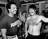 Oakland A's Reggie Jackson and Gene Tenace in the locker room after beating the Cincinnati Reds in the 1972 World Series. (photo/Ron Riesterer)