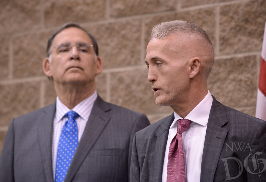 NWA Democrat-Gazette/BEN GOFF @NWABENGOFF<br /> Trey Gowdy (right), U.S. Rep. (R-S.C.), and U.S. Sen. John Boozman (R-Ark.), take part in media availability Thursday, April 20, 2017, prior to Gowdy's speech, part of the Winthrop Paul Rockefeller Distinguished Lecture Series presented by the United States Marshals Museum, at the Fort Smith Convention Center in Fort Smith.