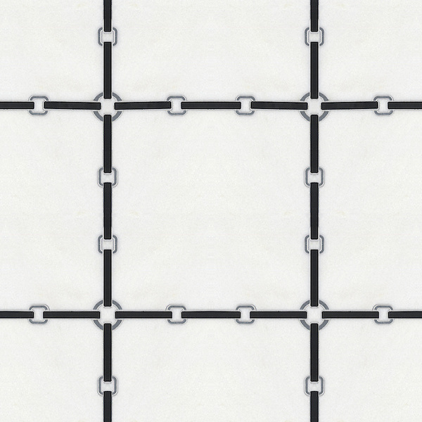 Strap small, a waterjet stone mosaic, shown in honed Nero Marquina, Thassos, and Bardiglio.