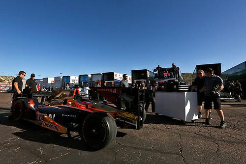 26-27 February, 2016, Avondale, Arizona USA<br /> James Hinchcliffe's car is unloaded<br /> ©2016, Phillip Abbott<br /> LAT Photo USA