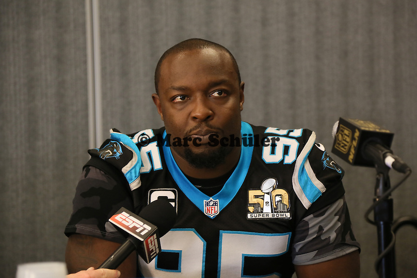 DE Charles Johnson (Panthers) - Super Bowl 50 Carolina Panthers PK, Convention Center San Jose