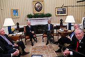 "United States President Barack Obama meets with the bipartisan leaders of the US Senate and the bipartisan leaders of the US Senate Judiciary Committee to talk about the Supreme Court vacancy left by the death of Associate Justice Antonin Scalia, in the Oval Office of the White House.  From left to right: US Senate Judiciary Committee; US Senate Minority Leader Harry Reid (Democrat of Nevada); US Vice President Joe Biden; the President; US Senate Majority Leader Mitch McConnell (Republican of Kentucky); and US Senator Chuck Grassley (Republican of Iowa), Chairman, US Senate Judiciary Committee. In what was described as a ""very short"" meeting, the Republicans advised Obama there would be no hearings and no vote on any nominee he submits to replace Scalia.<br /> Credit: Aude Guerrucci / Pool via CNP"