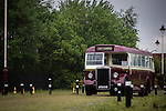 © Joel Goodman - 07973 332324 . 24/05/2014 . Heywood Station , Railway Street , Heywood, UK . Vintage bus . 1940s weekend on the East Lancs Railway , with visitors dressed up and partaking in 40s-themed events . Photo credit : Joel Goodman