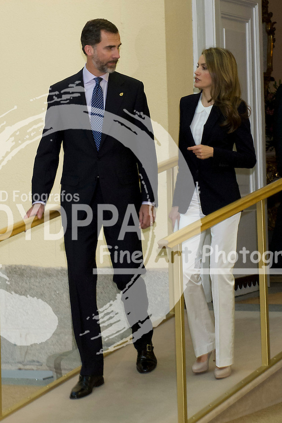 17.06.2013. El Pardo Palace. Madrid. Spain. Princes of Asturias, Felipe and Letizia of Spain, attend Annual Meeting With Members Of The Boards Of The Prince of Asturias Foundation. In the image: Prince Felipe and Princess Letizia. (C) Ivan L. Naughty / DyD Fotografos//