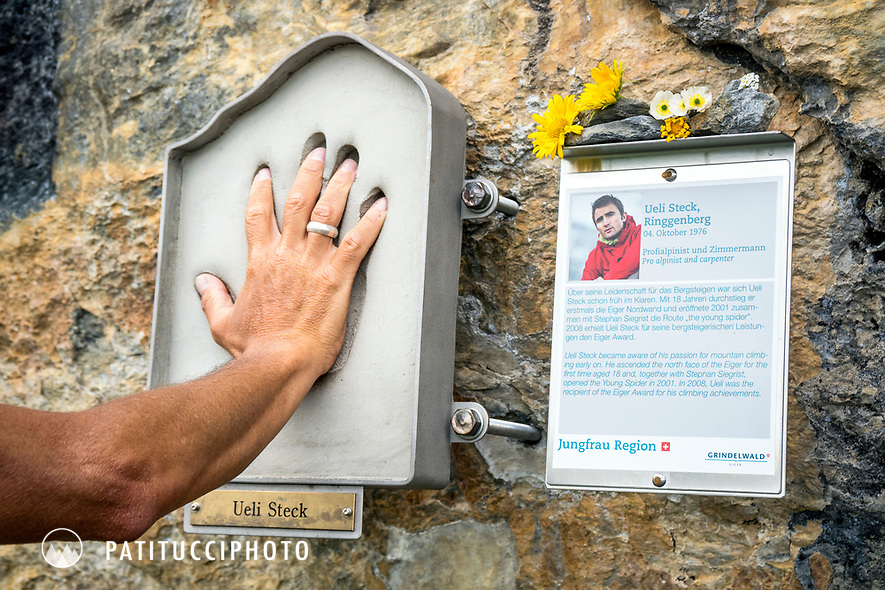 The Ueli Steck exhibit, now a memorial, at the base of the Eiger Nordwand, Switzerland.
