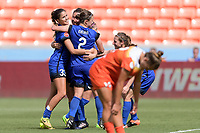 Houston, TX - Saturday May 27, 2017: Katie Johnson celebrates her goal with her teammates during a regular season National Women's Soccer League (NWSL) match between the Houston Dash and the Seattle Reign FC at BBVA Compass Stadium.