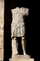 Emperor in military dress; Scenae frons built in 105 AD and restored between 333 and 335 AD; Replica of the original sculpture dated 1st Century AD, in safe custody at the National Museum of Roman Art since 1986; Roman Theatre, built in 16 - 15 BC, promoted by Marcus Vipsanius Agrippa (63 BC-12 BC), Merida (Augusta Emerita, Capital of Hispania Ulterior), Extremadura, Spain