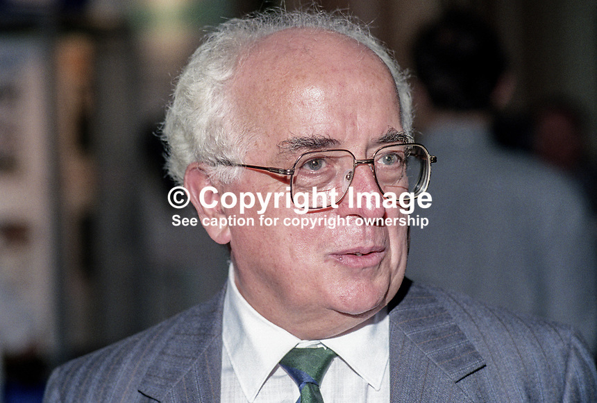 Kevin McNamara, MP, Labour Party, politician, UK, 19921006KMN.<br /> <br /> Copyright Image from Victor Patterson,<br /> 54 Dorchester Park, <br /> Belfast, UK, BT9 6RJ<br /> <br /> t1: +44 28 9066 1296 (from Rep of Ireland 048 90661296)<br /> t2: +44 28 9002 2446 (from Rep of Ireland 048 9002 2446)<br /> <br /> m: +44 7802 353836<br /> <br /> e: victorpatterson@me.com<br /> www.victorpatterson.com<br /> <br /> Please see my Terms and Conditions of Use at www.victorpatterson.com. It is IMPORTANT that you familiarise yourself with them.<br /> <br /> Images used on the Internet must be visibly watermarked i.e. &copy; Victor Patterson<br /> within the body of the image and copyright metadata must not be deleted. Images <br /> used on the Internet have a size restriction of 4kbs and will be chargeable at current<br />  NUJ rates unless agreed otherwise.<br /> <br /> This image is only available for the use of the download recipient i.e. television station, newspaper, magazine, book publisher, etc, and must not be passed on to any third <br /> party. It is also downloaded on condition that each and every usage is notified within 7 days to victorpatterson@me.com<br /> <br /> The right of Victor Patterson to be identified as the author is asserted in accordance with The Copyright Designs And Patents Act (1988). All moral rights are asserted