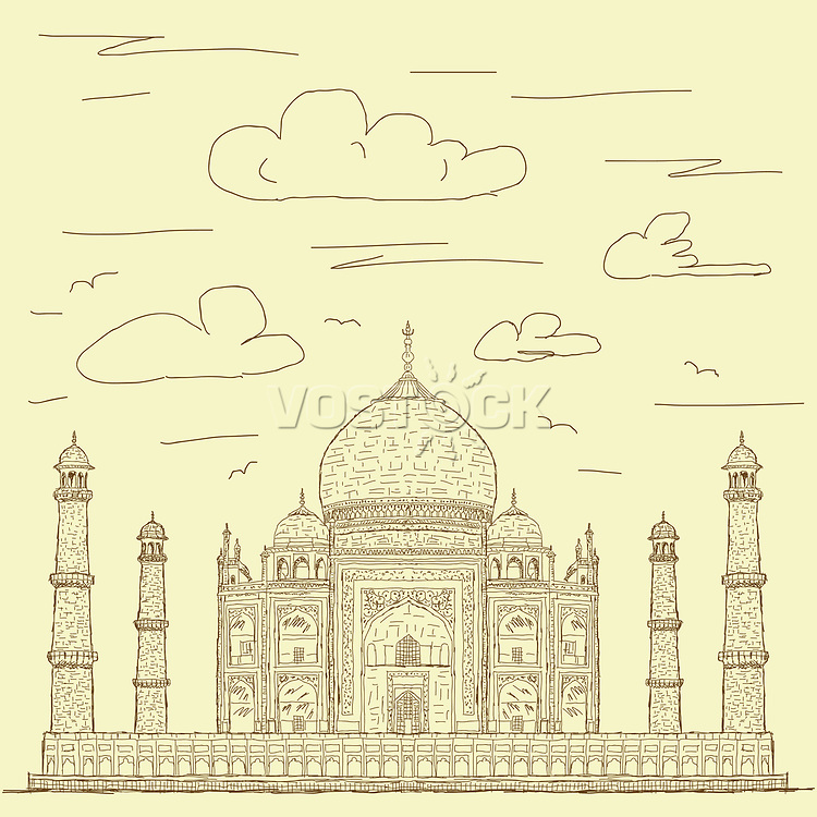 vintage hand drawn illustration of famous tourist destination taj mahal of India.