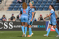 Bridgeview, IL - Saturday May 06, 2017: Casey Short, Julie Johnston Ertz during a regular season National Women's Soccer League (NWSL) match between the Chicago Red Stars and the Houston Dash at Toyota Park. The Red Stars won 2-0.