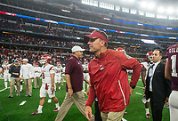 Hawgs Illustrated/Ben Goff<br /> Chad Morris, Arkansas head coach, leaves after their loss to Texas A&M Saturday, Sept. 29, 2018, during the Southwest Classic at AT&T Stadium in Arlington, Texas.