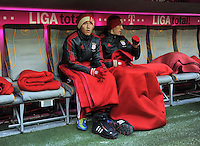 FUSSBALL   1. BUNDESLIGA  SAISON 2011/2012   21. Spieltag FC Bayern Muenchen - 1. FC Kaiserslautern       11.02.2012 auf der Bank Takashi Usami , Nils Petersen (v.li., FC Bayern Muenchen)