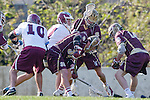 Los Angeles, CA 03/08/10 - Travis Abraham (LMU # 10), Luke Donovan (FSU # 39) and Aaron Jagoda (FSU # 11) .in action during the Florida State-LMU MCLA interconference men's lacrosse game at Leavey Field (LMU).  Florida State defeated LMU 12-7.