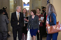 United States Senator Rob Portman (Republican of Ohio) and United States Senator Susan Collins (Republican of Maine) speak to members of the media at the United States Capitol in Washington D.C., U.S. on Tuesday, March 24, 2020.  The Senate is working to finalize a deal on the Coronavirus Stimulus Package, after it was blocked by Senate Democrats two days in a row.  Credit: Stefani Reynolds / CNP/AdMedia
