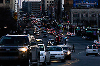 NEWARK, NJ - JANUARY 18: People make their way trough traffic at downtown on January 18, 2018 in Newark, New Jersey. Amazon has released a shortlist for its much-anticipated second headquarters, with New York City and Newark, New Jersey, among the 20 locations that made the cut. (Photo by Eduardo MunozAlvarez/VIEWpress)