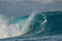 Namotu Island Resort, Nadi, Fiji (Sunday, October 7th  2018):  Mick Fanning (AUS)  -<br /> The South swell was  double overhead this morning with solid sets at Cloudbreak, Lefts and Wilkes. Pools also had good waves  on the dropping tide. The wind was very light early and came up from the SSE around midday. The new guests surfed Cloudbreak, Pools and Lefts through the day.<br /> Cloudbreak was a solid 12' with some waves having at least 15' faces. Guys like Mick Fanning (AUS), Dingo Morrison (AUS) and Keahi De Anoitiz (AUS) were standouts. Photo: joliphotos.com