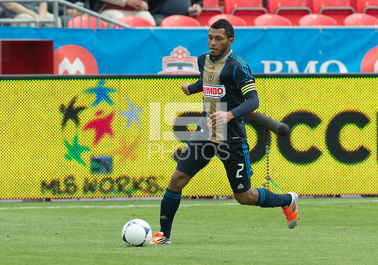 15 September 2012: Philadelphia Union defender Carlos Valdes #2 in action during an MLS game between the Philadelphia Union and Toronto FC at BMO Field in Toronto, Ontario..The game ended in a 1-1 draw..