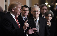 United States President Donald J. Trump talks to the press after the Republican Policy luncheon at the U.S. Capitol Building on January 9, 2019 in Washington, DC. Pictured from left to right: the President, US Senator Todd Young (Republican of Indiana), US Senate Majority Leader Mitch McConnell (Republican of Kentucky), and US Senator Joni Ernst (Republican of Iowa).<br /> Credit: Olivier Douliery / Pool via CNP /MediaPunch