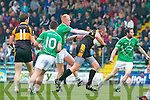Kieran Donaghy Austin Stacks in action against Seamus Scanlon Saint Kierans in the Quarter Finals of the County Championship at Austin Stack Park on Sunday.