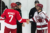 Jake Weidner (Cornell - 7), Devin Tringale (Harvard - 22) - The Harvard University Crimson defeated the visiting Cornell University Big Red on Saturday, November 5, 2016, at the Bright-Landry Hockey Center in Boston, Massachusetts.