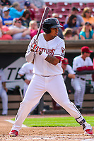 Wisconsin Timber Rattlers shortstop Gilbert Lara (11) during game one of a Midwest League doubleheader against the Kane County Cougars on June 23, 2017 at Fox Cities Stadium in Appleton, Wisconsin.  Kane County defeated Wisconsin 4-3. (Brad Krause/Krause Sports Photography)