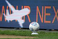 A replacement match ball in position by the touchline during Millwall vs Swansea City, Sky Bet EFL Championship Football at The Den on 30th June 2020