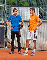 Austria, Kitzbuhel, Juli 14, 2015, Tennis, Davis Cup, Training Dutch team, Robin Haase and Jan-Willem de Lange<br /> Photo: Tennisimages/Henk Koster