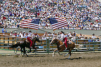 OPENING CEREMONY OF CA. RODEO. RODEO RIDERS. SALINAS CALIFORNIA USA.