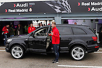 Real Madrid player Sergio Ramos participates and receives new Audi during the presentation of Real Madrid's new cars made by Audi at the Jarama racetrack on November 8, 2012 in Madrid, Spain.(ALTERPHOTOS/Harry S. Stamper) .<br />
