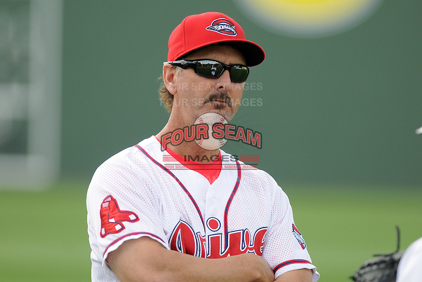 Pitching coach Paul Abbott (37) of the Greenville Drive before in a game against the Delmarva Shorebirds on Monday, April 29, 2013, at Fluor Field at the West End in Greenville, South Carolina. Delmarva won, 6-5 in game one of a doubleheader. (Tom Priddy/Four Seam Images)