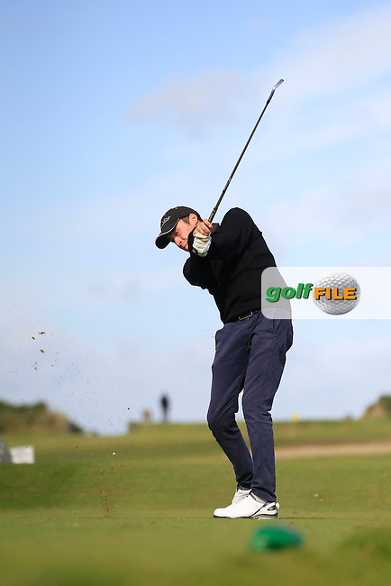 Chris Johnston (Perranporth) on the 7th tee during Round 3 of the Irish Youths Amateur Close Championship in Ardglass Golf Club on Friday 29th August 2014.<br /> Picture:  Thos Caffrey / www.golffile.ie