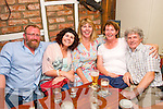 Fifty and fab: Mary Mitchell,Ballyheigue(seated 2nd rt)had a little tipple for her 50th birthday last Saturday night in Linnanes bar,Rock St,Tralee(L-R)Mick Muldoonm,Aine Supple,Eileen Muldoon with Mary&John Mitchell.