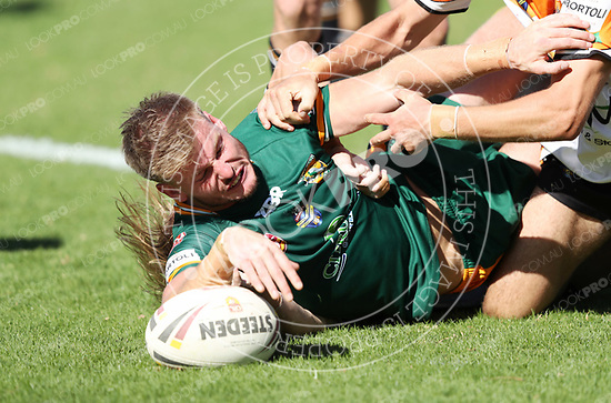 The Wyong Roos play The Entrance Tigers in Round 5 of the Open Age Central Coast Rugby League Division at Morry Breen Oval on 6 May, 2018 in Kanwal, NSW Australia. (Photo by Paul Barkley/LookPro)
