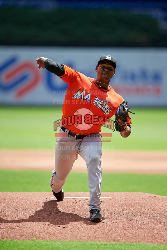 Miami Marlins Jorge Guzman (35) delivers a pitch during a Florida Instructional League game against the Washington Nationals on September 26, 2018 at the Marlins Park in Miami, Florida.  (Mike Janes/Four Seam Images)