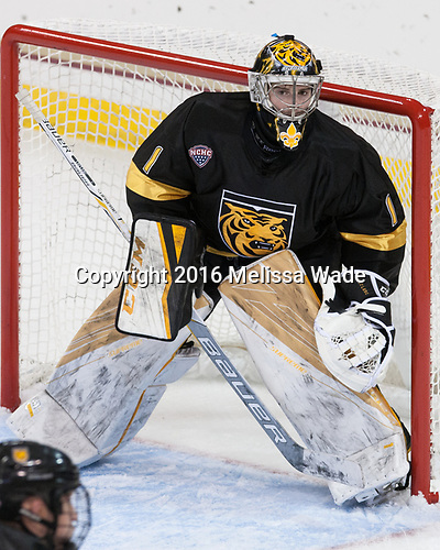 Alex Leclerc (CC - 1) - The Boston College Eagles defeated the visiting Colorado College Tigers 4-1 on Friday, October 21, 2016, at Kelley Rink in Conte Forum in Chestnut Hill, Massachusetts.The Boston College Eagles defeated the visiting Colorado College Tiger 4-1 on Friday, October 21, 2016, at Kelley Rink in Conte Forum in Chestnut Hill, Massachusett.