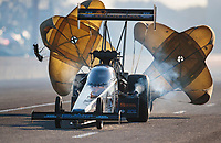 Oct 19, 2019; Ennis, TX, USA; NHRA top fuel driver Austin Prock during qualifying for the Fall Nationals at the Texas Motorplex. Mandatory Credit: Mark J. Rebilas-USA TODAY Sports