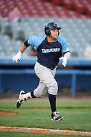 Trenton Thunder first baseman Dante Bichette (19) runs to first base during the second game of a doubleheader against the Hartford Yard Goats on June 1, 2016 at Sen. Thomas J. Dodd Memorial Stadium in Norwich, Connecticut.  Trenton defeated Hartford 2-1.  (Mike Janes/Four Seam Images)