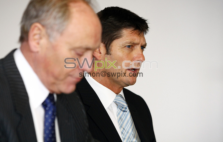 PICTURE BY VAUGHN RIDLEY/SWPIX.COM...Cricket - County Championship - Yorkshire CCC Press Conference - Headingley, Leeds, England - 15/11/11…Yorkshire Chairman Colin Graves, Yorkshire Director of Professional Cricket Martyn Moxon and Yorkshire CCC Captain Andrew Gale announce that Jason Gillespie has been appointed as new 1st team coach, Paul Farbrace, new 2nd team coach, Richard Damms, new Development Manager and that they have also signed Phil Jaques as an overseas batsman for the 2012 season.