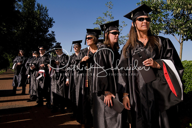 Graduates line up Belmont Abbey College Graduation in Belmont Abbey.