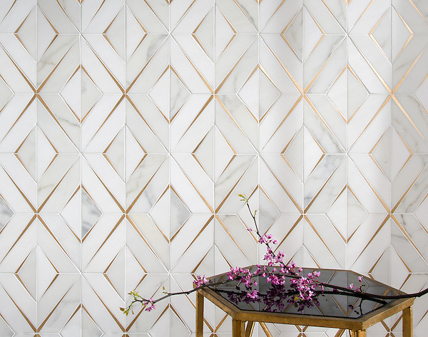 Simone, a waterjet stone mosaic, shown in honed Calacatta Gold, honed Thassos, and brushed Brass, is part of the Trove™ collection for New Ravenna and available through the Studio Line of Ready to Ship mosaics.<br />