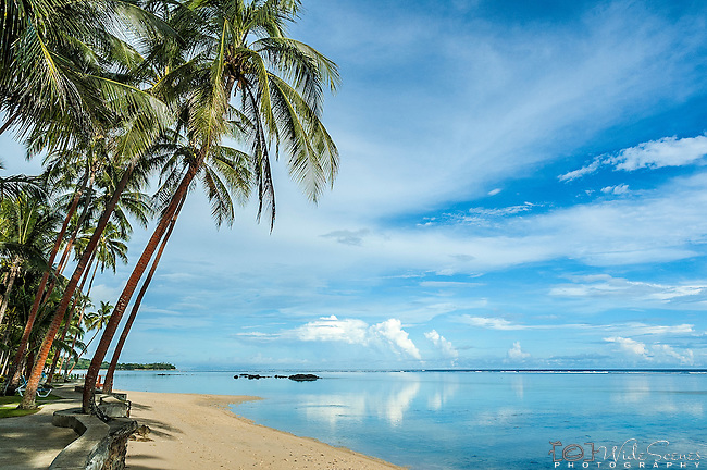 The beach at the Fiji Hideaway Resort & Spa on the Coral Coast on Viti Levu, Fiji