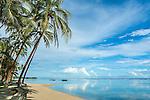 The beach at the Fiji Hideaway Resort & Spa on the Coral Coast on Viti Levu, Fiji
