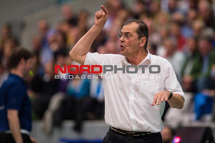 03.05.2015, ZF Arena, Friedrichshafen<br /> Volleyball, Bundesliga Maenner, Play-offs Finale 5, VfB Friedrichshafen vs. Berlin Recycling Volleys<br /> <br /> Stelian Moculescu (Trainer / Coach Friedrichshafen)<br /> <br />   Foto &copy; nordphoto / Kurth