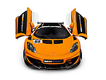 Orange 2014 McLaren 12C GT Sprint supercar with open scissor doors front view isolated sports car on white background with clipping path